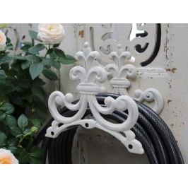 Držák na zahradní hadici Antique, bílá barva, kov