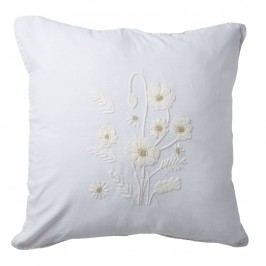 Lněný povlak na polštář Flowers Cream 60x60 cm, bílá barva, krémová barva, textil