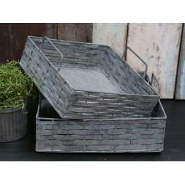 Zinkový podnos Braided Menší, šedá barva, zinek