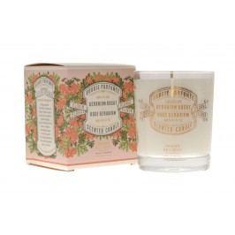Vonná svíčka - Rose Geranium, růžová barva, bílá barva, zlatá barva, krémová barva, sklo, papír