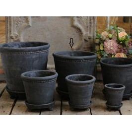 Hliněný květník Antique coal - XL, černá barva, keramika