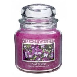 Svíčka ve skle Violet blossom - střední, růžová barva, sklo