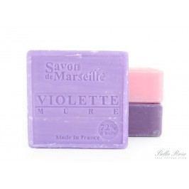 Mýdlo Marseille 100 g čtverec - fialka a ostružina, fialová barva