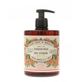 Tekuté mýdlo na ruce Rose Geranium 500 ml, růžová barva, hnědá barva, plast