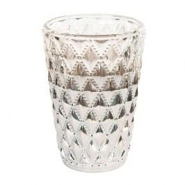 Blossom Skleněný svícen Silver Crystal, šedá barva, sklo