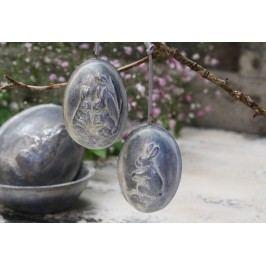 Závěsné velikonoční vejce Bunnies Dva zajíčci, šedá barva, pryskyřice