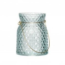 Skleněná lucerna Blue/Gold, modrá barva, sklo, kov