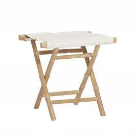 Bambusová stolička Stool, béžová barva, bílá barva, dřevo