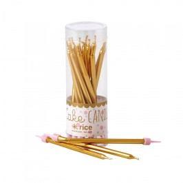 Dortové svíčky Gold - 16 ks, zlatá barva, plast, vosk