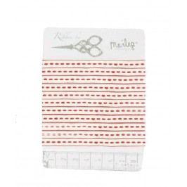 Bavlněná stuha Pearl white/red, červená barva, bílá barva, textil