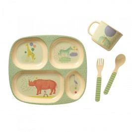 Sada melaminového nádobí pro kluky - 4 ks, zelená barva, žlutá barva, multi barva, melamin