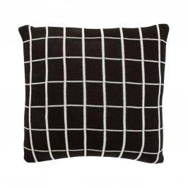 Polštář Grid Black 50x50 cm, černá barva, bílá barva, textil