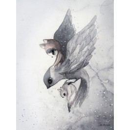 Plakát FLYING SPARROW 30x40 cm - Limited Edition, šedá barva, papír