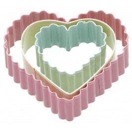 Barevná vykrajovátka Heart - 3 ks, růžová barva, zelená barva, žlutá barva, multi barva, kov