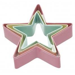 Barevná vykrajovátka Star - 3 ks, růžová barva, zelená barva, žlutá barva, multi barva, kov