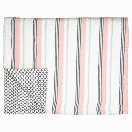 Prošívaný přehoz Leoma peach 180x230, růžová barva, šedá barva, textil