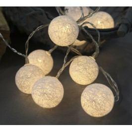 Dekorativní svítící řetěz White Lights, bílá barva, textil
