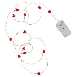 Světelný LED drátek Red Heart, červená barva, stříbrná barva, kov