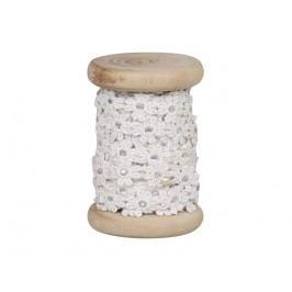 Dřevěná špulka se stuhou Flower - 5m, bílá barva, textil