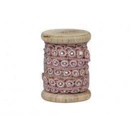 Dřevěná špulka se stuhou Antique Rose - 5m, růžová barva, dřevo, textil