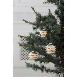 Keramické vánoční ozdoby Omaggio Gold - set 3 ks, zlatá barva, krémová barva, keramika