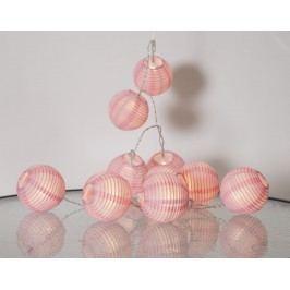Světelný lampionový řetěz Pink, růžová barva, plast, papír