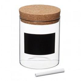 Skleněná dóza s korkovým víčkem S, čirá barva, přírodní barva, sklo, korek