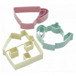 Barevná vykrajovátka Tea party - 3 ks, růžová barva, zelená barva, žlutá barva, multi barva, kov