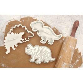 Vykrajovátka na sušenky - dinosauři - 3 ks, krémová barva, plast