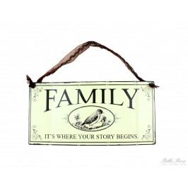 La finesse Plechová cedule Family, béžová barva, kov
