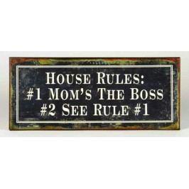 La finesse Plechová cedule HOUSE RULES, černá barva, kov