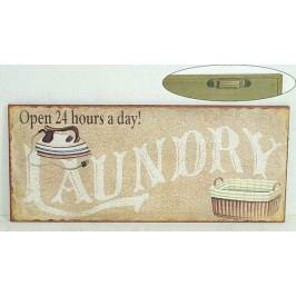 La finesse Plechová cedule Laundry, béžová barva, kov