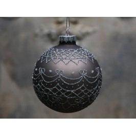 Vánoční baňka Holiday Antique mocca, šedá barva, hnědá barva, stříbrná barva, sklo