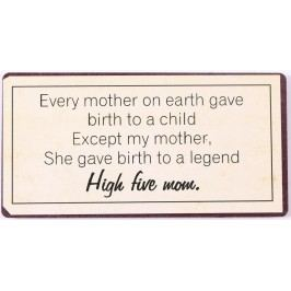 High five mom, béžová barva, kov