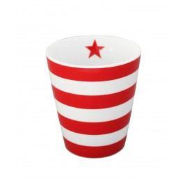 Latte hrneček Stripes red, červená barva, porcelán