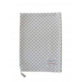 Utěrka Hearts white diagonal, šedá barva, bílá barva, textil