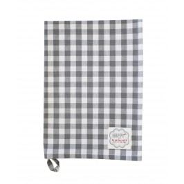 Utěrka Grey checker, šedá barva, textil