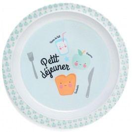 Dětský melaminový talířek Petit déjeuner Blue, modrá barva, melamin