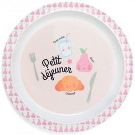 Dětský melaminový talířek Petit déjeuner Pink, růžová barva, melamin
