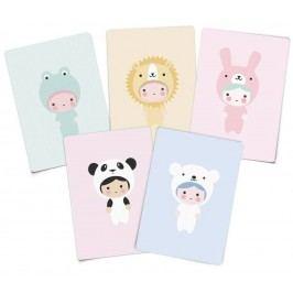 Párty pozvánky Little Animals A7 - set 5 ks, multi barva, papír