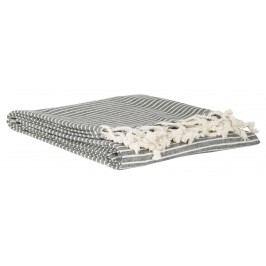 Pruhovaná osuška Black 105x160 cm, šedá barva, bílá barva, přírodní barva, textil