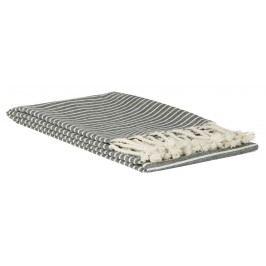 Pruhovaný ručník Black 50x100 cm, šedá barva, bílá barva, přírodní barva, textil