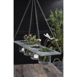 Závěsný kovový držák na vázičky/květináče, šedá barva, kov, zinek