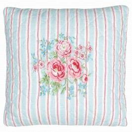 Vyšívaný povlak na polštář  Tess white 40x40, modrá barva, textil