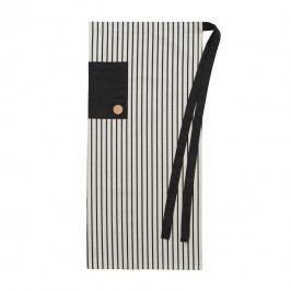 Dlouhá pánská zástěra CHEF, černá barva, bílá barva, textil, kůže