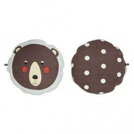 Kulatý polštářek Bear, hnědá barva, textil