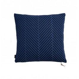 Polštář Herringbone Dark blue 50x50 cm, modrá barva, textil