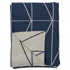Pletený přehoz Indigo Blue Zig-Zag 130x170 cm, modrá barva, šedá barva, textil