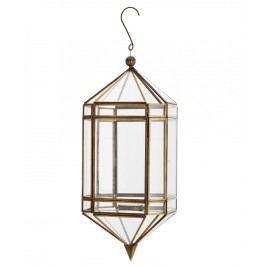 Závěsná skleněná lucerna Antique brass, měděná barva, zlatá barva, sklo, kov