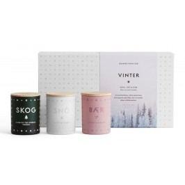 Set mini svíček VINTER 3x55 g, bílá barva, multi barva, sklo